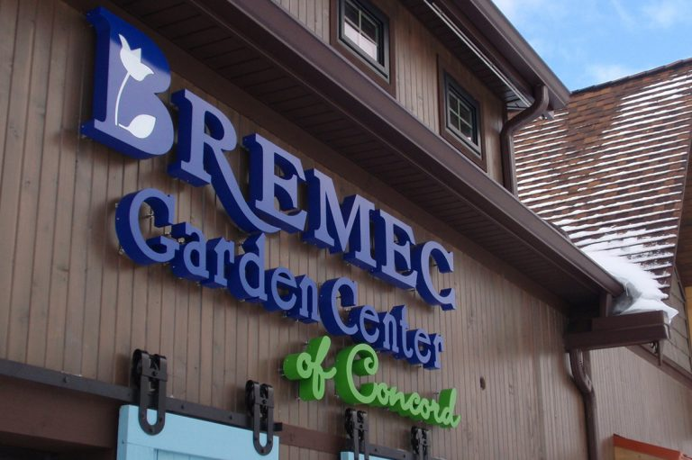 close-up of Bremec Garden Center of Concord sign