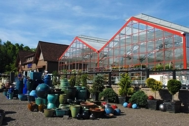 exterior view of Bremec Garden Centers of Concord glass nursery