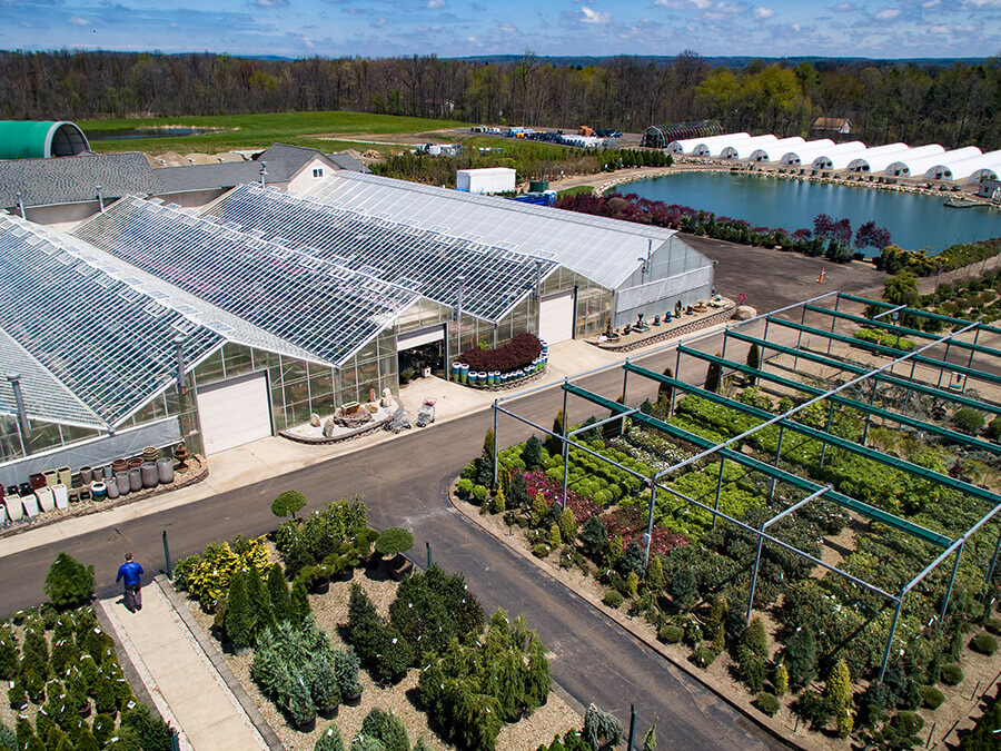 aerial view of Bremec Garden Centers greenhouses and trees and shrubs for sale