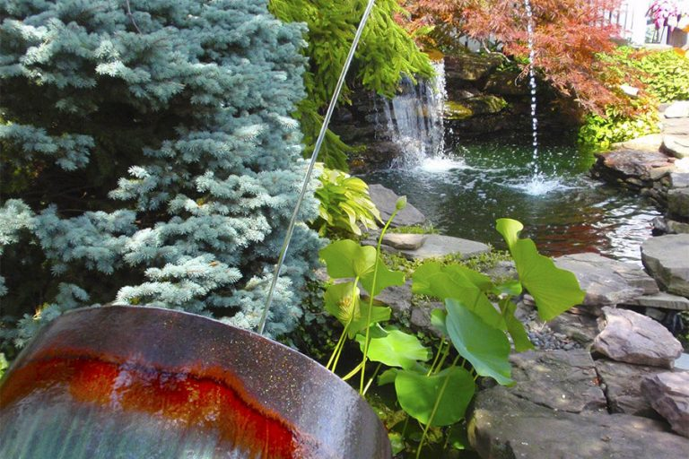 fountain spraying water in an outdoor garden pond