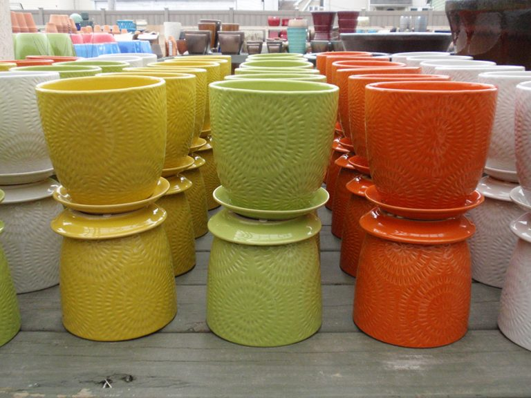 multi-colored garden pottery and containers