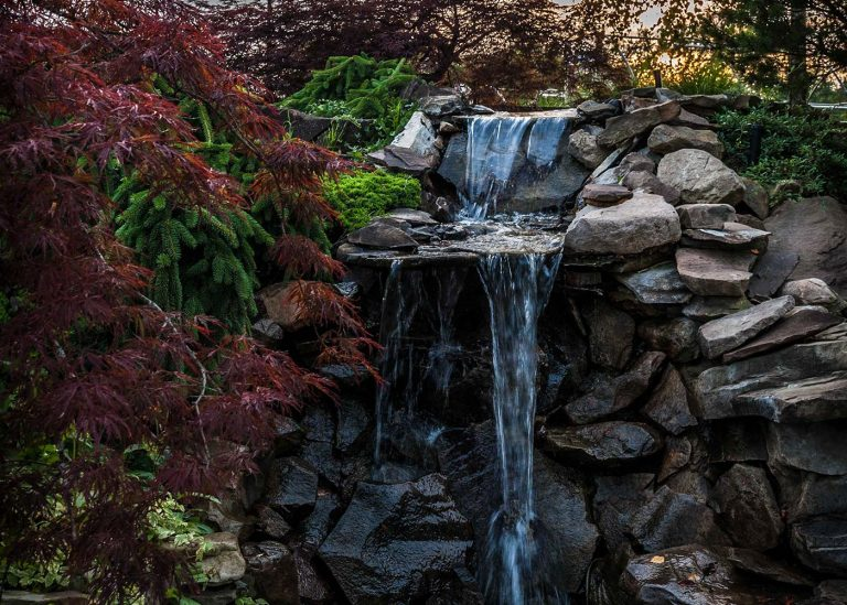 up-close look at outdoor water feature designed by The Bremec Group