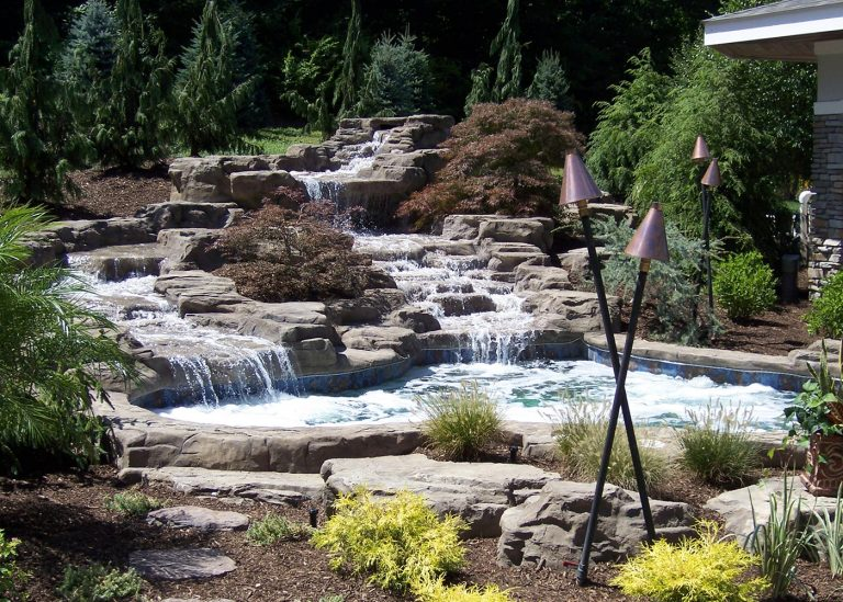 garden pond and waterfall designed by The Bremec Group