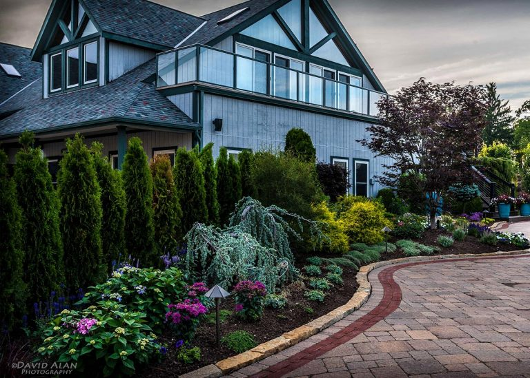 exterior landscaping and landscape lighting installed by The Bremec Group