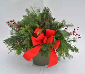 holiday porch pots and greens